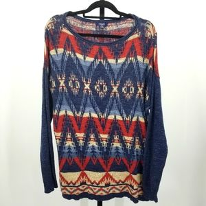 Chaps Oversized Sweater Southwest Aztec Print XL